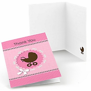 Girl Baby Carriage - Baby Shower Thank You Cards - 8 ct