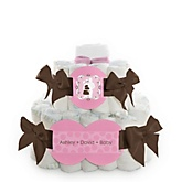 Silhouette Couples Baby Shower - It's A Girl - 2 Tier Personalized Square Baby Shower Diaper Cake