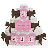 Silhouette Couples Baby Shower - It's A Girl - 3 Tier Personalized Square Baby Shower Diaper Cake