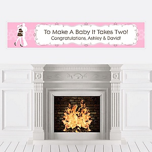 Silhouette Couples Baby Shower - It's A Girl - Personalized Baby Shower Banners