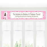 Silhouette Couples Baby Shower - It's A Girl - Personalized Baby Shower Banner