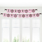 Silhouette Couples Baby Shower - It's A Girl - Personalized Baby Shower Garland Banner