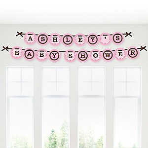 Silhouette Couples Baby Shower - It's A Girl - Personalized Baby Shower Garland Letter Banners
