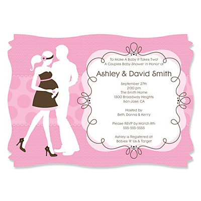 Silhouette Couples Baby Shower - It's A Girl - Baby Shower Invitations With Squiggle Shape Baby Shower Party Supplies