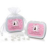 Silhouette Couples Baby Shower - It's A Girl - Mint Tin Personalized Baby Shower Favors
