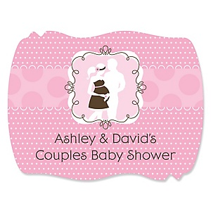 Silhouette Couples Baby Shower It's A Girl - Personalized Baby Shower Squiggle Sticker Labels - 16 Count