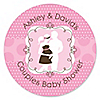 Silhouette Couples Baby Shower - It's A Girl - Personalized Baby Shower Sticker Labels - 24 ct