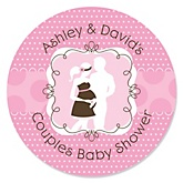 Silhouette Couples Baby Shower - It's A Girl - Personalized Baby Shower Round Sticker Labels - 24 Count
