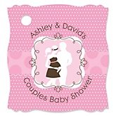 Silhouette Couples Baby Shower - It's A Girl - Personalized Baby Shower Tags - 20 Count