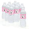 Silhouette Couples Baby Shower - It's A Girl - Personalized Baby Shower Water Bottle Label Favors