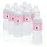 Silhouette Couples Baby Shower - It's A Girl - Personalized Baby Shower Water Bottle Labels