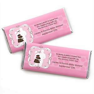 Silhouette Couples Baby Shower - It's A Girl - Personalized Baby Shower Candy Bar Wrapper Favors