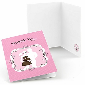 Silhouette Couples Baby Shower - It's A Girl - Baby Shower Thank You Cards - Set of  8