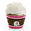 Girl Elephant - Birthday Party Cupcake Wrappers