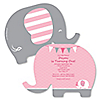 Girl Elephant - Personalized Birthday Party Invitations