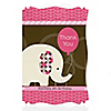 Girl Elephant - Personalized Birthday Party Thank You Cards