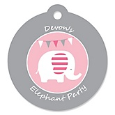 Pink Baby Elephant  - Personalized Baby Shower Round Tags - 20 Count