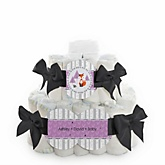 Miss Foxy Fox - 2 Tier Personalized Square Baby Shower Diaper Cake