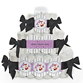 Miss Foxy Fox - 3 Tier Personalized Square Baby Shower Diaper Cake