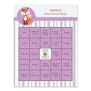 Miss Foxy Fox - Bingo Personalized Baby Shower Games - 16 Count