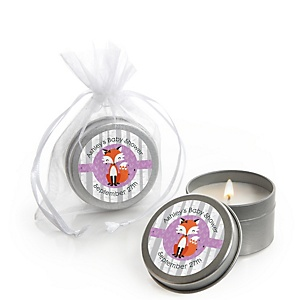 Miss Foxy Fox - Candle Tin Personalized Baby Shower Favors