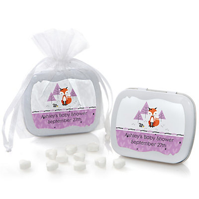 Miss Foxy Fox - Mint Tin Personalized Baby Shower Favors...
