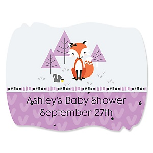 Miss Foxy Fox - Personalized Baby Shower Squiggle Stickers - 16 ct