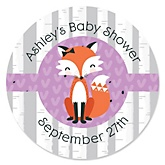 Miss Foxy Fox - Personalized Baby Shower Round Sticker Labels - 24 Count