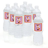 Miss Foxy Fox - Baby Shower Personalized Water Bottle Sticker Labels - 10 Count