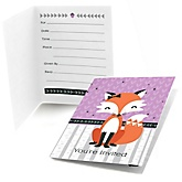 Miss Foxy Fox - Fill In Baby Shower Invitations - Set of  8