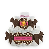 Giraffe Girl - 2 Tier Personalized Square Baby Shower Diaper Cake