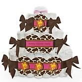 Giraffe Girl - 3 Tier Personalized Square Baby Shower Diaper Cake