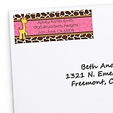 Giraffe Girl - Personalized Baby Shower Return Address Labels - 30 ct