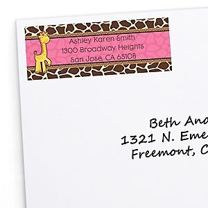 Giraffe Girl - Personalized Baby Shower Return Address Labels - 30 ct