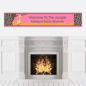 Giraffe Girl - Personalized Baby Shower Banners