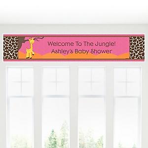 Giraffe Girl - Personalized Baby Shower Banner