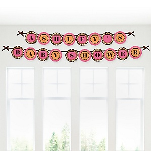 Giraffe Girl - Personalized Baby Shower Garland Letter Banners