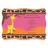 Giraffe Girl - Personalized Baby Shower Invitations