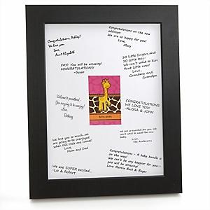 Giraffe Girl - Personalized Baby Shower Print with Signature Mat