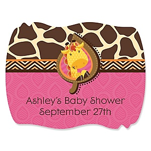 Giraffe Girl - Personalized Baby Shower Squiggle Sticker Labels - 16 Count