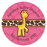 Giraffe Girl - Personalized Baby Shower Round Sticker Labels - 24 Count