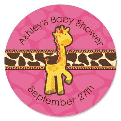 Giraffe Girl   Personalized Baby Shower Sticker Labels   24 Ct