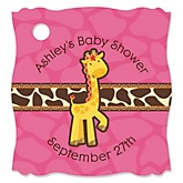Giraffe Girl - Personalized Baby Shower Tags - 20 Count