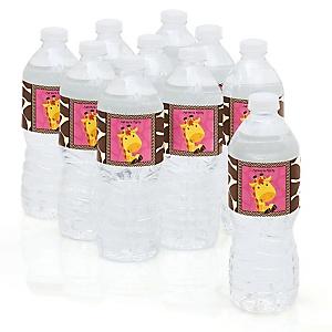 Giraffe Girl - Baby Shower Personalized Water Bottle Sticker Labels - 10 Count