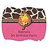Giraffe Girl - Personalized Birthday Party Squiggle Stickers - 16 ct