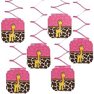 Giraffe Girl - Baby Shower Hanging Decorations - 6 Count