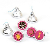 Giraffe Girl - Round Candy Labels Party Favors - Fits Hershey's Kisses - 108 ct