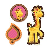 Giraffe Girl - Shaped Baby Shower Paper Cut-Outs - 24 ct