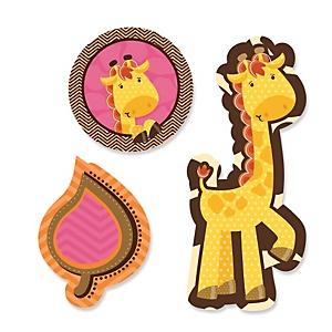 Giraffe Girl - Shaped Baby Shower Paper Cut-Outs - 24 ct