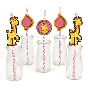 Giraffe Girl - Paper Straw Decor - Baby Shower or Birthday Party Striped Decorative Straws - Set of 24